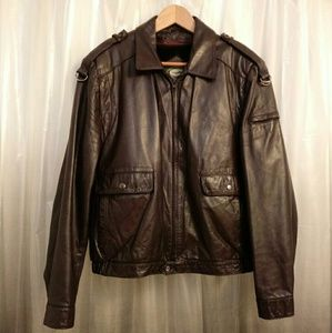 EUC MEN'S HILL & ARCHER LEATHER ZIP COAT